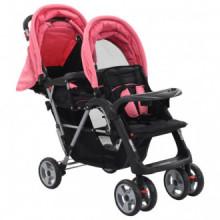 Carrito para dos bebés tandem rosa y negro de...