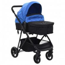 Cochecito/Silla de bebé 2 en 1 acero azul y...