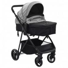 Cochecito/Silla de bebé 2 en 1 acero gris y...