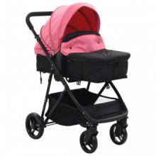 Cochecito/Silla de bebé 2 en 1 acero rosa y...