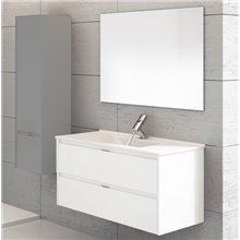 Mueble con lavabo Blanco brillo Ibiza 120 con un seno TEGLER