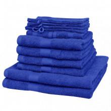 Juego de toallas 12 piezas algodón 500 gsm azul...