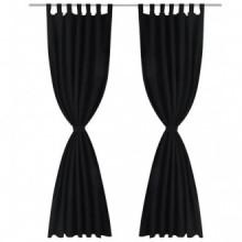 2 cortinas negras micro-satinadas con...