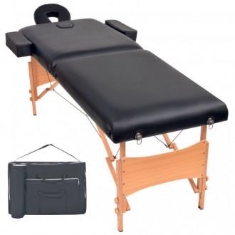 Camilla de masaje plegable con 2 zonas 10 cm de grosor negra Vida XL
