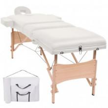 Mesa plegable de masaje con 3 zonas 10 cm de grosor blanco Vida XL