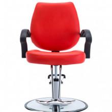 Silla de peluquería de cuero sintético roja...