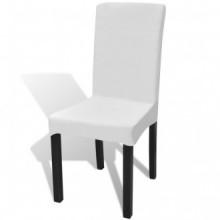 Funda de silla elástica recta 4 unidades blanca...