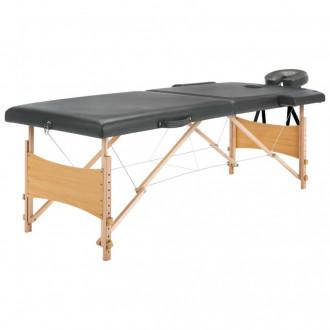 Camilla de masaje 2 zonas estructura madera antracita 186x68 Vida XL