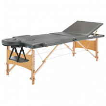 Camilla de masaje 3 zonas estructura madera antracita 186x68 Vida XL