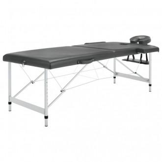 Camilla masaje 2 zonas estructura aluminio antracita 186x68 Vida XL