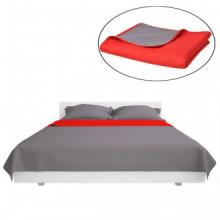 Colcha de cama doble cara roja y gris 170x210...