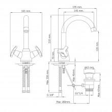 Grifo monoblock lavabo de caño alto Marin