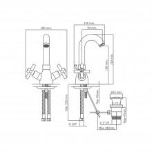 Grifo monoblock para lavabo caño alto Cala