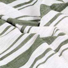 Cortinas y aros demetal 2 piezas algodón verde...