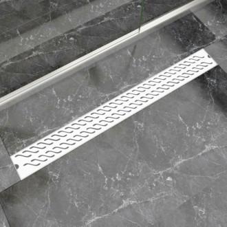 Desagüe lineal de ducha ondas 1030x140mm acero inoxidable Vida XL