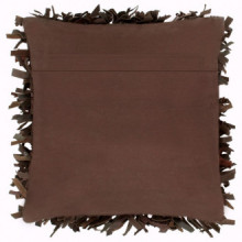 Cojín con flecos cuero y algodónmarrón 60x60cm...