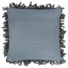 Cojín con flecos de cuero y algodón gris...