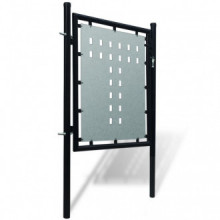 Verja negra con una puerta de entrada, 100 x...