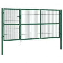 Puerta de valla de jardín con postes acero...
