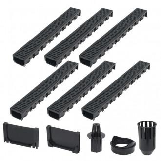 Canales de drenaje 6 unidades plástico 6m Vida XL