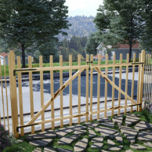 Puerta doble para valla 300x150 cm madera de...