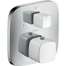 Grifo termostático de 2 funciones PuraVida blanco cromo Hansgrohe