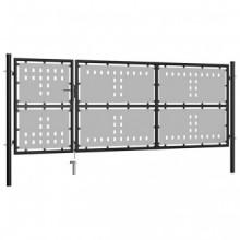 Puerta de jardín de acero negro 350x125cm Vida XL