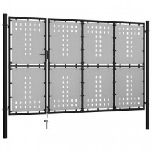Puerta de jardín de acero negro 350x150cm Vida XL
