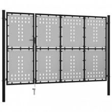 Puerta de jardín de acero negro 350x175cm Vida XL