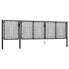 Puerta de jardín de acero negro 400x75cm Vida XL