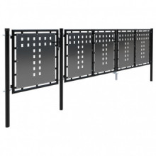 Puerta de jardín de acero negro 400x100cm Vida XL