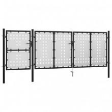 Puerta de jardín de acero negro 400x125cm Vida XL