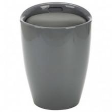 Taburete de almacenamiento cuero sintético gris...