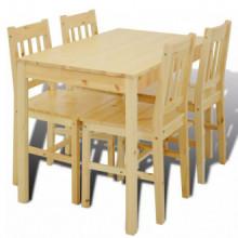 Mesa de comedor con 4 sillas de madera, color...