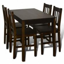 Mesa de comedor y 4 sillasmaderamarrón Vida XL