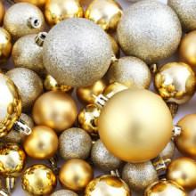Lote de bolas de Navidad 113 unidades doradas...