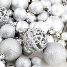 Lote de bolas de Navidad 100 unidades plateadas...
