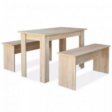 Mesa de comedor y bancos 3 piezasmadera...