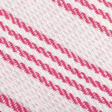 Manta a rayas 160x210cm algodón rosa y blanco...