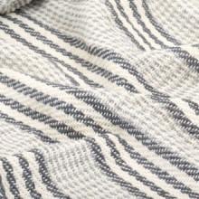 Manta a rayas 160x210cm algodón gris y blanco...