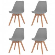 Sillas de comedor 4 unidades cuero sintético gris Vida XL