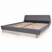 Estructura de cama de tela gris claro 160x200cm...