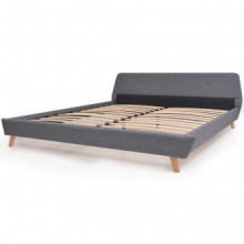 Estructura de cama de tela gris claro 180x200cm...