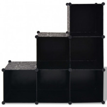 Estantería de cubos con 6 compartimentos negro...