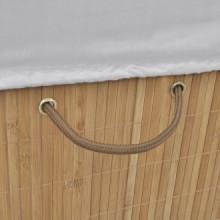 Cesto de la ropa de bambú rectangular color...
