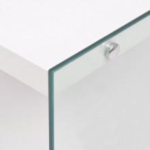 Mesa de centro con estante vidrio ymDF blanco...
