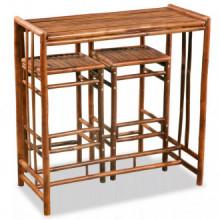 Conjunto de comedor de bambú 3 piezasmarrón...
