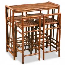 Conjunto de comedor de bambú 5 piezasmarrón...