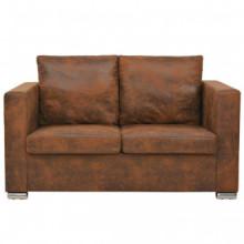 Sofa de 2 plazas 137x73x82cm piel de ante...