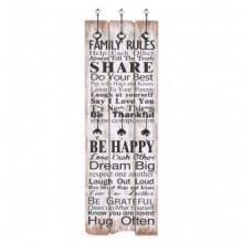 Perchero de pared FAMILY RULES con 6 ganchos...